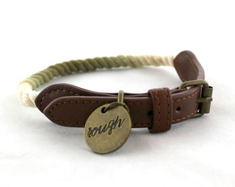 Rough Rope Dog Collar - Ombre Olive Green
