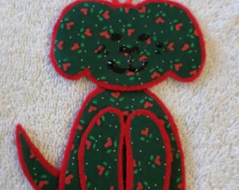 Dog Christmas Ornaments-Holly and Hearts