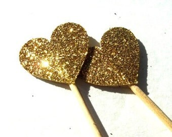 12 Gold Glitter Heart Toppers