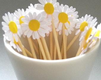 24 Mini Daisy Party Toothpicks