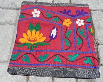 suzani cloth made pink color embroidery thin bed decor oriental area culture square pillow 16x16 size eclectic rugs vintage turkish