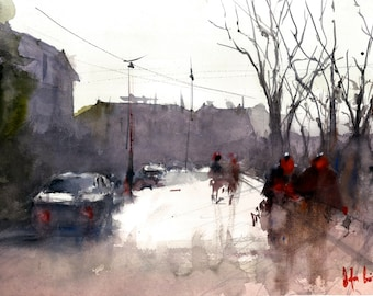 walking on the misty road original watercolor painting, istanbul