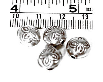 6 Hill Tribe Silver Flower Beads, 10mm, Fair Trade, fine silver, jewellery making, silver beads, UK seller, Karen Hill Tribe silver beads