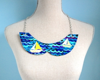 Leather sailing peter pan collar necklace