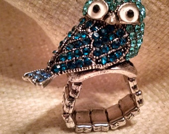 Blue bird crystal pave ring