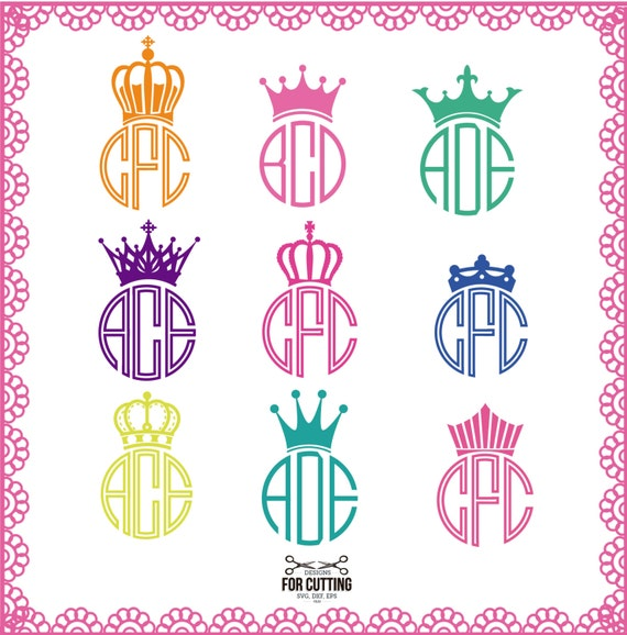 Crown Monogram Frames Cut Files Svg Dxf Eps Cutting Or