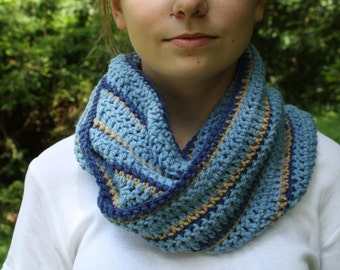 Blue and Tan Crochet Cowl