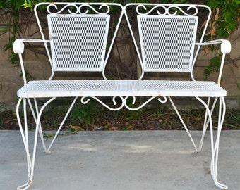 VTG Mid Century Iron Mesh Bench, White Chippy Paint, Outdoor Garden  Furniture, LOCAL