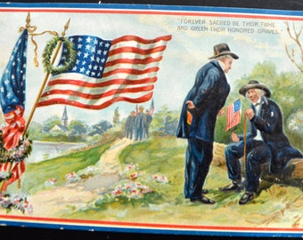 Patriotic Postcard Raphael Tuck Decoration Day Memorial Day Card