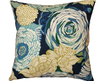 Blue Floral Pillow Cover with Optional Polyester or Feather Insert