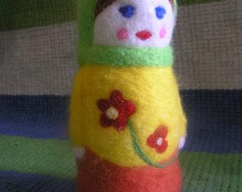 Felted toy Matryoshka (Make to order). Needle felted toy. Eco friendly Toy. Gift idea.