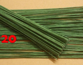 "400 Wire Stems--Gauge#20-- (Length 12"" X 1.15 mm) Floral Wire Flower Stem Artificial, Artificial Stems, Floral Stem, Green  Wire Stems."