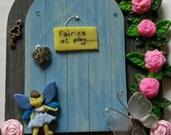 Fairy Door, fairy house, fairy accessories, hobbit door, blue door, elf door, gnome door, middle earth, garden door, whimsical, whimsy