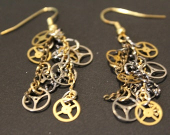 Steampunk gear earrings