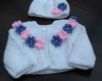 Cardigan and Matching Hat with Flower Decoration
