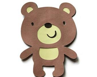 5 Bear Die Cuts, Teddy Bear Cut Outs, Bear Baby Shower, Bear Birthday, Bear Cut Outs, Paper Bears, Teddy Bears, 5 Die Cuts,