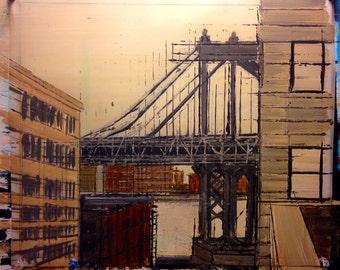 Dumbo Brooklyn Painting of Manhattan Bridge