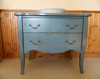 Bathroom vanities bath on paw pine with drawer u milk paint finish worn color blue soldier of Homestead House