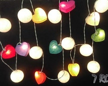 Mix color Heart  paper and white cotton ball  String lights for Party, Wedding , Bedroom , Garden&Decorative lighting.