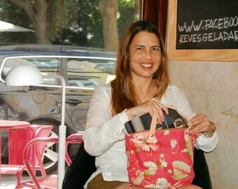 Mini Handbag Chilli, Canvas bag, Crimson, Floral pattern, Zipper top closure, Leather handles