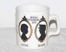Princess Anne and Mark Phillips 1973 Royal Wedding Staffordshire mug