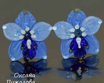 Earrings for women, drop earrings, Flower earrings, blue earrings, gift for her, glass earrings, silver