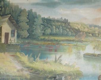 Antique impressionist lake oil painting