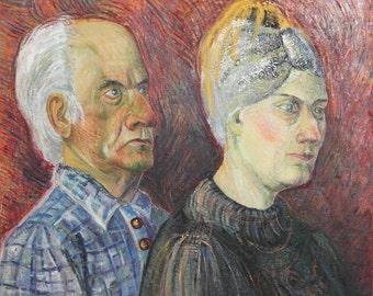 Vintage couple portrait oil painting