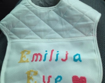 Baby Bib hand embroidered Name and/or Star Wars Design
