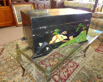 Vintage Hand Painted Chinese Trunk
