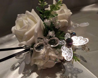 Ivory Rose Flower girl Wand with butterflies