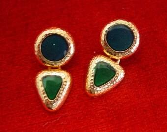 Dangle Blue & Green Enamel Earrings
