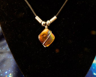 Iridescent Brown Glass Shell Pendant/Necklace