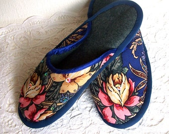 Handmade Home Slippers. House Shoes. Russian Slippers. Handstitched Mules. Our Mother's Slippers. Gift for Her.