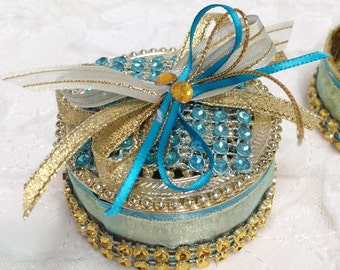 12 Round Party Favors, Gold and Blue