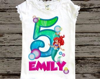 Little Mermaid Birthday Shirt - Ariel Birthday Shirt
