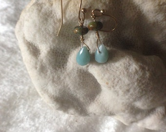 CHALCEDONY and TURQUOISE Earrings