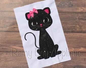 Cat Applique, Cat Design, Kitty Cat Embroidery, Cute Black Cat Applique, Halloween Applique, Halloween Cat Design