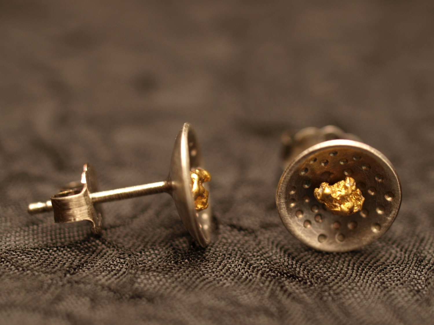 gold nugget earrings studs with sterling silver patina