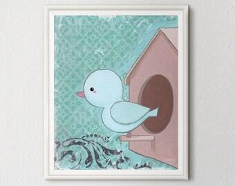 Little Bird 8x10 Print - Nursery Wall Art Decor - Birdhouse Blue and Brown - Art Print