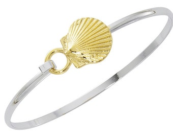 Two Tone Scallop Shell Cuff Bracelet