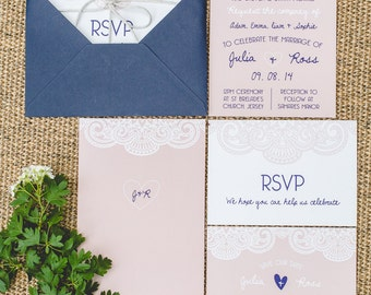 SAMPLE: Navy & Pink with Lace Wedding Invitation Set with RSVP, Envelope and String. – UK