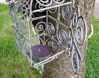 Shabby chic bird cage cream vintage up cycled bird feeder, planter or candle holder.