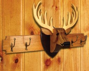 Deer Head Wall Mount- With or Without Coat Hanger-Rack -Wood Coat Hanger-Mancave decor