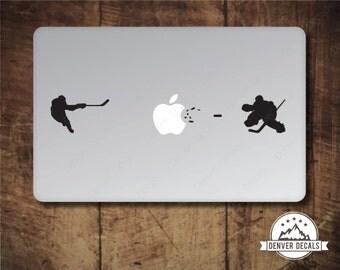 Hockey Player Blasting the Apple vs Goalie Macbook Sticker Ice Hockey Slapshot Goalie Save Mac Decal 13 15