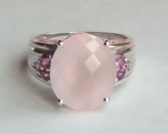 Sterling Silver Rose Quartz Rhodolite Garnet Ring