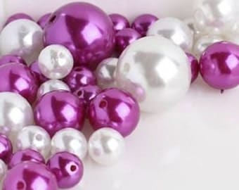 80 Unique Jumbo & Assorted Sizes 2 Color Mix Pearls Vase Fillers Beads