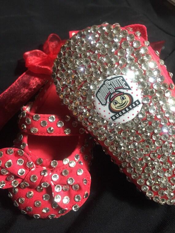 Ohio State Buckeyes custom bling size 1 baby girl shoes