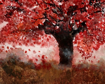Crimson Tree - Original 12x16 Acrylic Painting by Ana Doolin