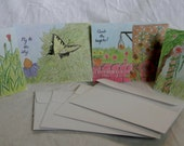 Handrawn Nature Floral Set of 4 Greeting Cards & Envelopes; Cards size 5.5 x 4.25 in